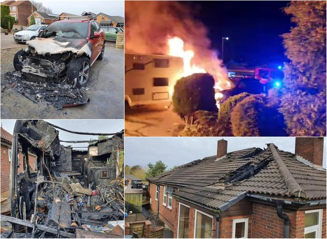 A car, house and caravan were set alight in a suspected arson attack in Wingate
