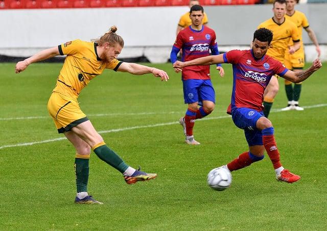 Luke Armstrong opens the scoring for Hartlepool United (photo: Frank Reid).