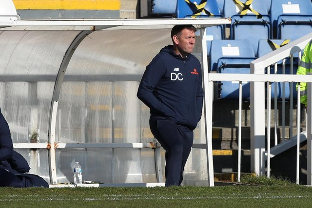 HARTLEPOOL, UK. MAY 1ST     Hartlepool United manager Dave Challinor during the Vanarama National League match between Hartlepool United and Chesterfield at Victoria Park, Hartlepool on Saturday 1st May 2021. (Credit: Chris Booth   MI News)