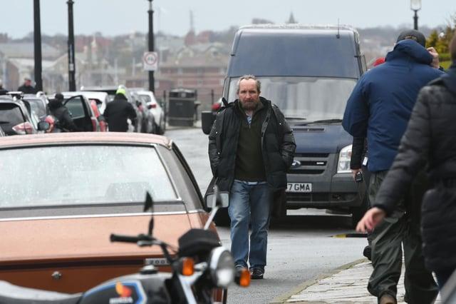 Eddie Marsen as John Darwin on set in Hartlepool on Tuesday afternoon.