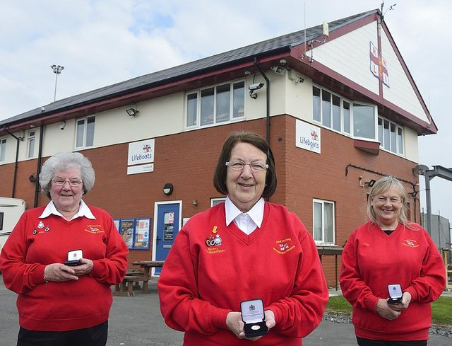 Hartlepool RNLI Enterprise Branch fundraisers(left to right) Ann Wray, Beryl Sherry and Christine Cook pictured with their long service awards.