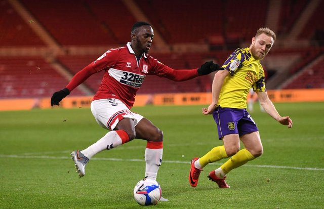 Neeskens Kebano playing for Middlesbrough.