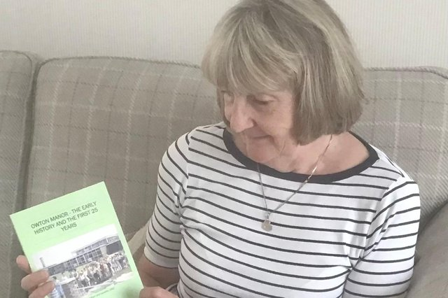Frances Wilson with a copy of her new book Owton Manor - The Early History and the First 25 years.