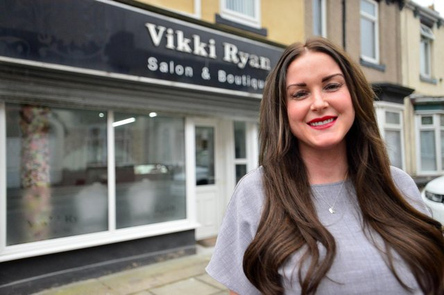 Vikki Ryan outside her salon in Lister Street, Hartlepool. Picture by FRANK REID