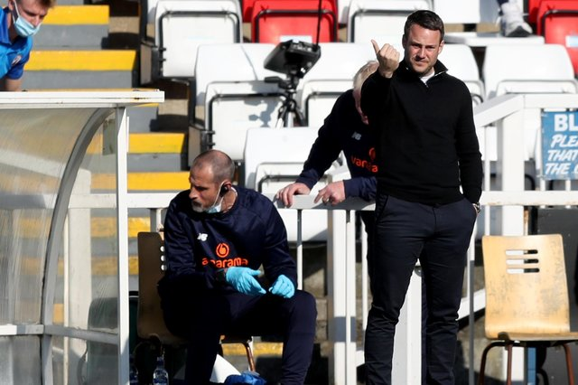 Chesterfield manager James Rowe during the Vanarama National League match between Hartlepool United and Chesterfield at Victoria Park, Hartlepool on Saturday 1st May 2021. (Credit: Chris Booth | MI News)