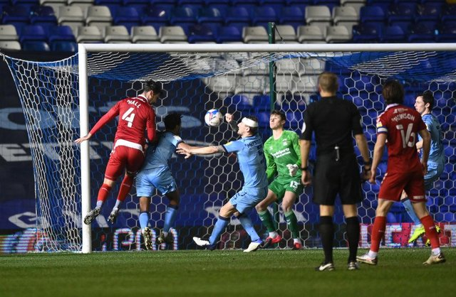 Grant Hall of Middlesborough scores in his side's win over Coventry.