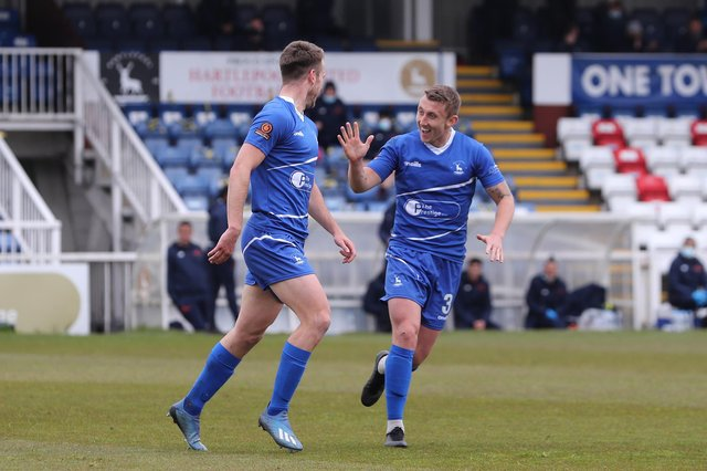 Hartlepool United's Rhys Oates celebrates after scoring their first goal   during the Vanarama National League match between Hartlepool United and Maidenhead United at Victoria Park, Hartlepool on Saturday 8th May 2021. (Credit: Mark Fletcher | MI News)