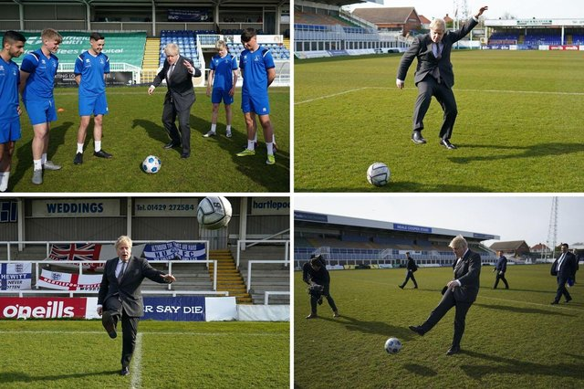 Boris Johnson campaigning through the medium of football in Hartlepool