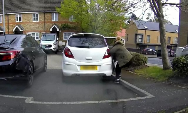 Courtney Lovland tried to stop the runaway Corsa