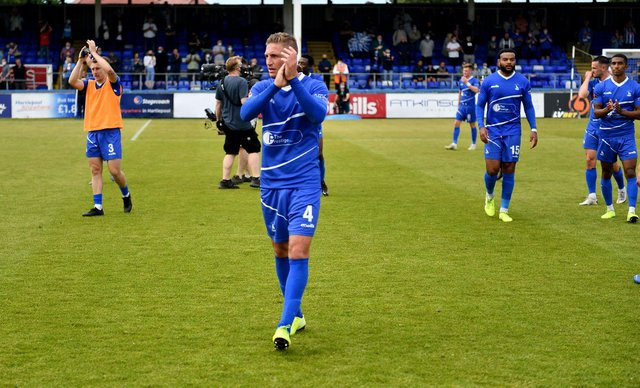 Gary Liddle at the end Hartlepool United 3-2 Bromley FC National League Playoff. 06-06-20212. Picture by FRANK REID