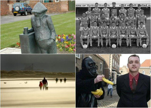 Clockwise from top left, Andy Capp, Hartlepool United footballers in the late 1980s, Stuart Drummond (right) the day after he became Mayor of Hartlepool and Seaton Carew Beach.