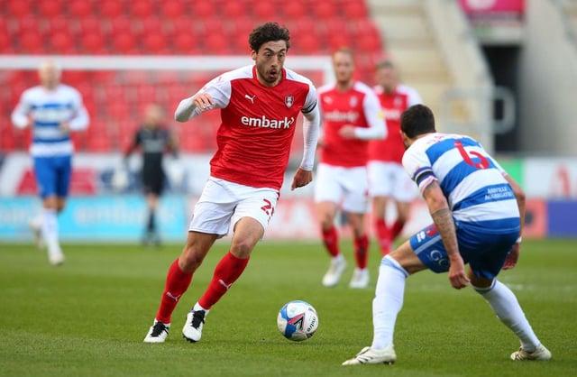 Matt Crooks playing for Rotherham United.
