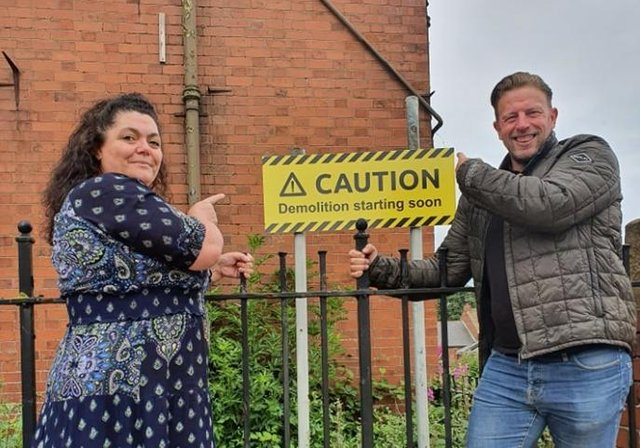Durham County Council ward members for Easington Angela Surtees and David Boyes outside the school ahead of its demolition.