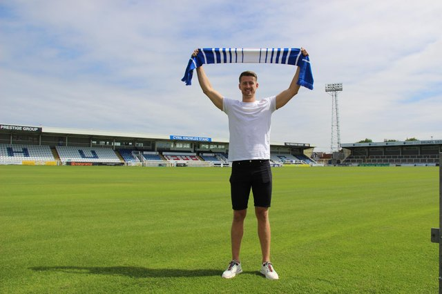 Hartlepool United sign Neill Byrne for 'undisclosed fee' from Halifax Town. Image HUFC.