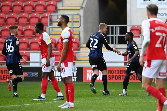George Saville of Middlesbrough celebrates after scoring their side's first goal against Rotherham.