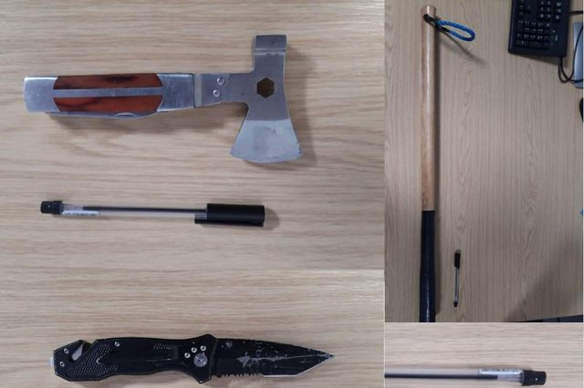 Some of the weapons officers seized./Photo: Hartlepool Neighbourhood Police Team