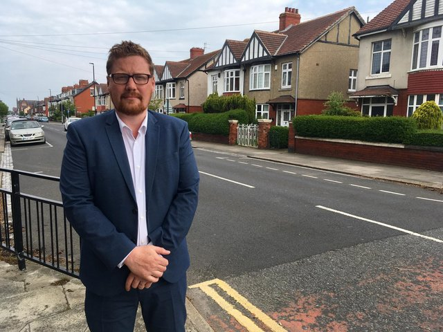 Burn Valley ward councillor Jonathan Brash in Park Road, Hartlepool, where a lollipop woman was injured after being involved in a collision with a car.