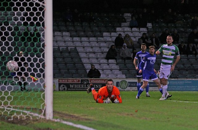 Luke James watches his effort find the bottom corner to make it 1-1 during the FA Cup match between Yeovil Town and Hartlepool United at Huish Park, Yeovil on Tuesday 12th November 2019. (Credit: Gareth Williams)