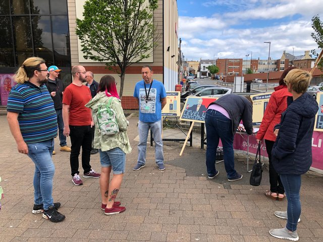 Councillor Paddy Brown (centre) chats to Labour councillors during the petition event in Hartlepool town centre on Saturday.