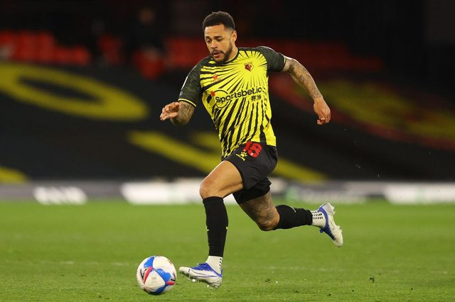 Andre Gray playing for Watford.