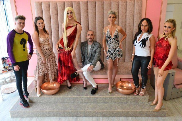 Scott Henshall (sitting) with Kirsty Wearmouth (third from right) owner of At Ladies Room and models (left to right) Jack Davey, Olivia Grylls, Anthony Dixon AKA Toni The Doll, Sally Frank and Holly Shackleton. Picture by FRANK REID