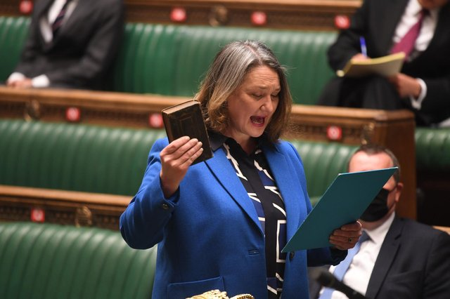Hartlepool's new Conservative MP Jill Mortimer swearing the oath of allegiance to the Queen as she appeared in the chamber ahead of the Queen's Speech debate. Photo: PA Wire.