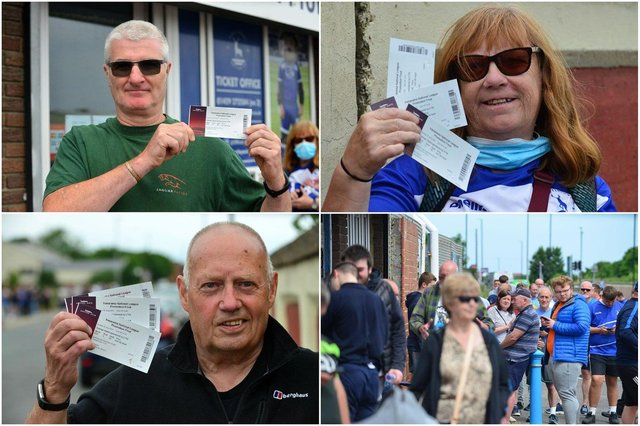 Some of the first season ticket holders to get their tickets for Sunday's play-off final. Clockwise Dennis Bates, Christine McCann, Ged O'Hare and fans in the queue.