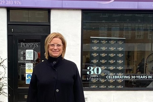 Janice Auton, of Poppys Hairdressers, in Victoria Road.