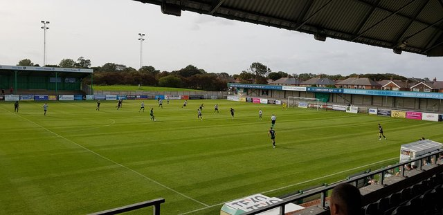 Hartlepool United in action against Blyth Spartans at Croft Park (photo: Dominic Scurr)