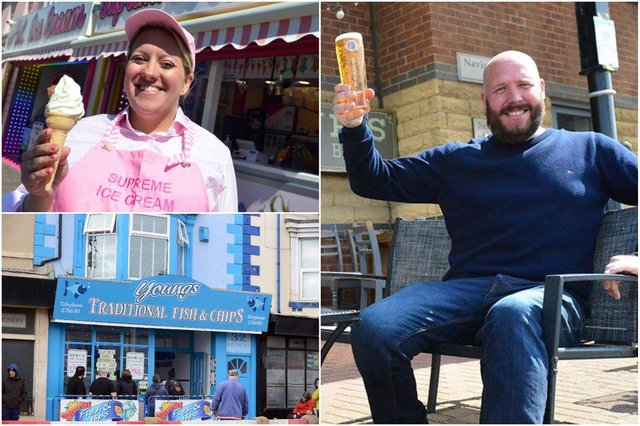 Clockwise from left: Zara Bowman of Supreme Ice Cream in Seaton Carew, John-Paul Maynard from JP's Bar at Hartlepool marina and visitors queuing outside Youngs fish and chip shop at Seaton.