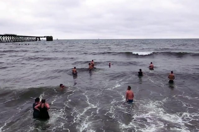 Members of Hartlepool Ice Swims group by Steetley Pier. Picture by Peter Greig Photography