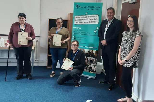 Left to right, Zephyr Boden, Laura Hamilton, Anthony Eadsforth, PCC Steve Turner and Andrea Atkinson, Volunteer Coordinator, are presented with their volunteer week certificates.
