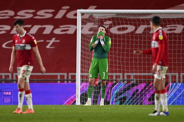 Middlesbrough players react after conceding against Rotherham.