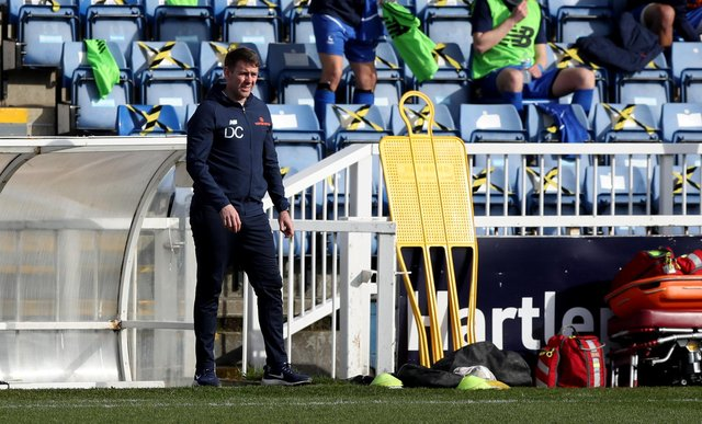 Hartlepool United manager Dave Challinor during the Vanarama National League match between Hartlepool United and Woking at Victoria Park, Hartlepool on Saturday 20th March 2021. (Credit: Chris Booth | MI News)