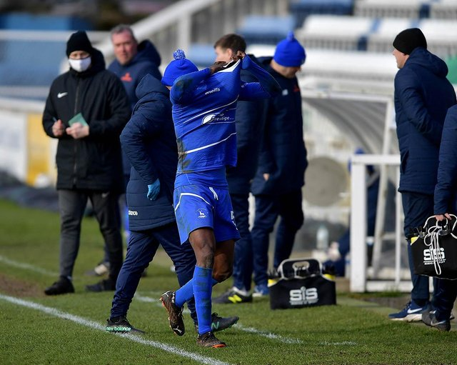 Timi Odusina was sent off for Pools against Eastleigh (photo: Frank Reid).