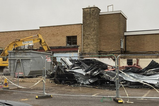Demolition underway at English Martyrs School and Sixth Form College. Picture by FRANK REID