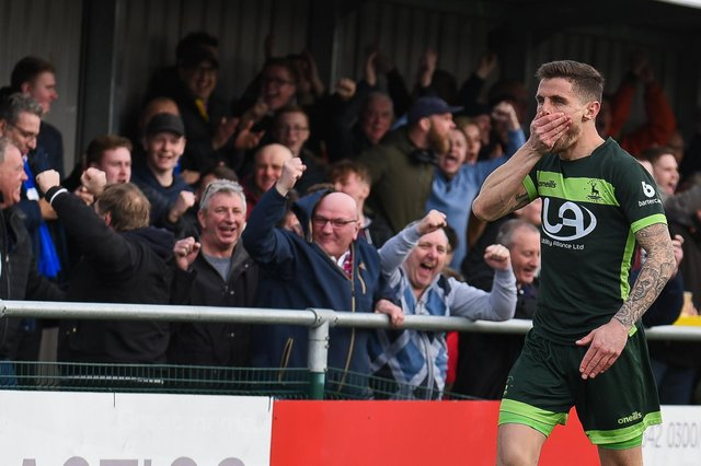 Gavan Holohan of Hartlepool United celebrates against Sutton United last season, the most recent match Hartlepool United fans were allowed to attend. (Credit: Paul Paxford   MI News) SUTTON, ENGLAND - MARCH 14TH