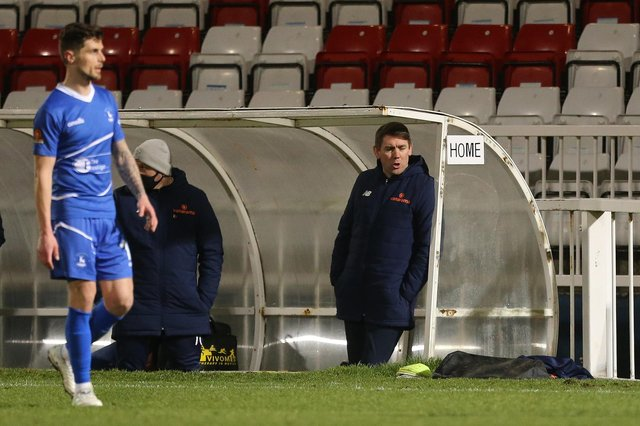 Hartlepool manager, Dave Challinor  during the Vanarama National League match between Hartlepool United and Barnet at Victoria Park, Hartlepool on Saturday 27th February 2021. (Credit: Mark Fletcher | MI News)