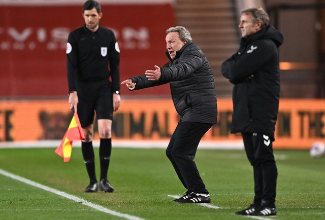 Neil Warnock, manager of Middlesborough, gives instructions to their side during the Sky Bet Championship match between Middlesbrough and Bristol City at Riverside Stadium on February 23, 2021.