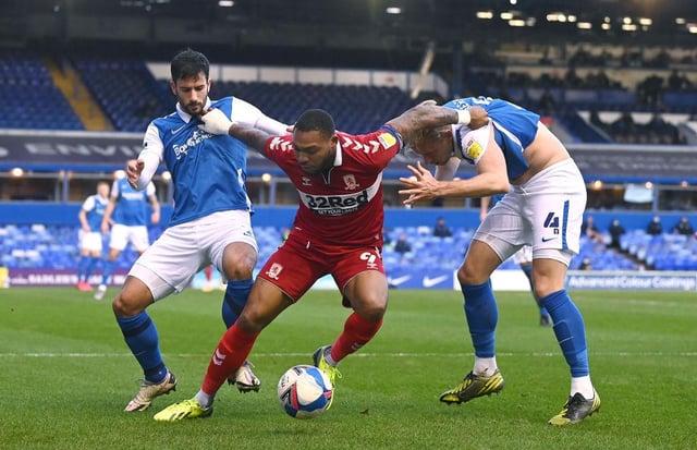 Britt Assombalonga playing for Middlesbrough.