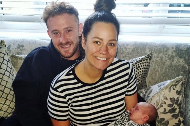 Lyndsey Lee with her daughter Ayda Quinn Lee and partner Anthony.