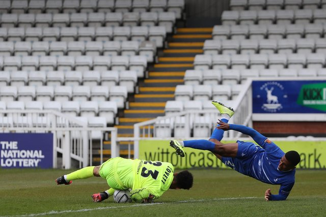 Danny Elliot of Hartlepool United in action with Maidenhead United's Rhys Lovett  during the Vanarama National League match between Hartlepool United and Maidenhead United at Victoria Park, Hartlepool on Saturday 8th May 2021. (Credit: Mark Fletcher | MI News)