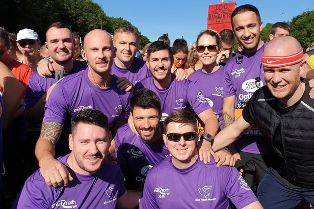 Alice House Hospice Great North Run team members at the last event. Runners shirts will once again be sponsored by Boots Optician in Hartlepool.