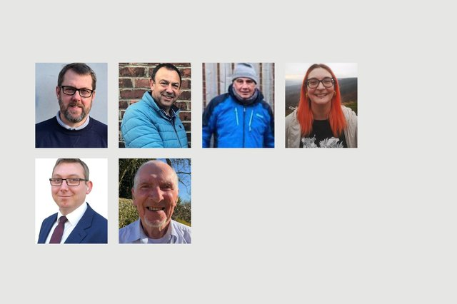 From left to right, Throston candidates in the May 6 elections. Back row, Gary Allen, Paddy Brown, Peter Jackson and Amy Prince. Front row, John Tennant and Ron Watts.