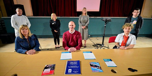 Standing, left to right, at the launch of the new Hartlepool Hub are Tim Fleming, Michaela Ryan and Gemma Peak. Sitting, left to right, are Denise McGuckin and Shane Moore. Picture by FRANK REID.