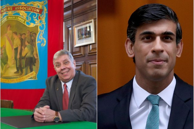 Secretary of the Durham Miners' Association, Alan Mardghum (left), and Chancellor of the Exchequer, Rishi Sunak.