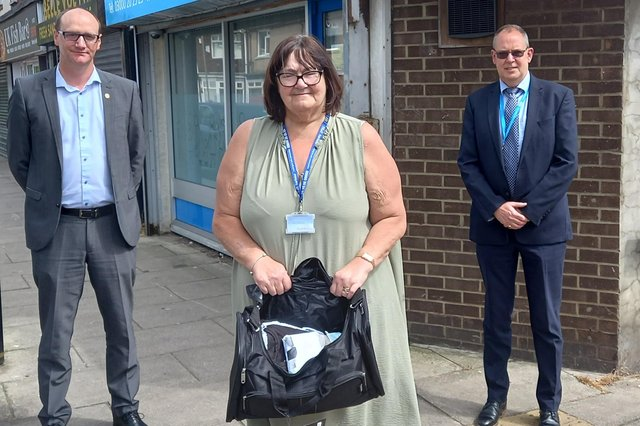 Left to right: Safer Hartlepool Partnership chair Councillor Shane Moore, Harbour chief executive Lesley Gibson with one of the bags and Tees Valley CCG chief officer Dave Gallagher.