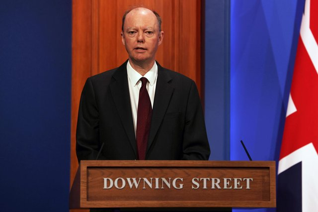 Chief Medical Officer Professor Chris Whitty during a media briefing in Downing Street, London, on coronavirus.