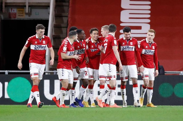 Middlesbrough players celebrate scoring against Luton.
