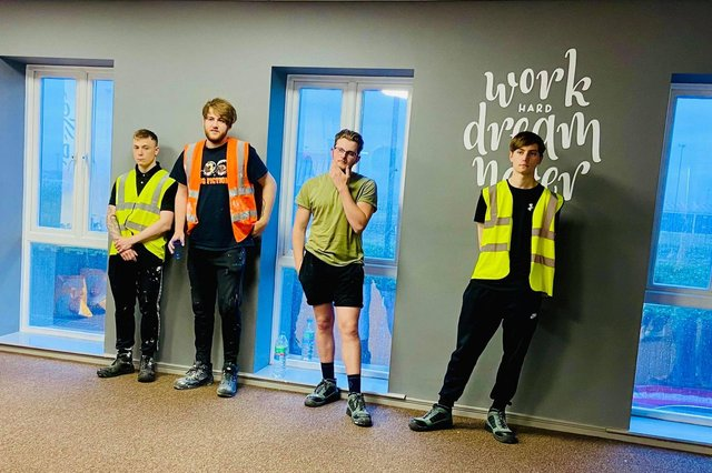 Bright future: Ryan Hayton, Brandon Carlyle, Lewis Clark and Dylan Shout have been given jobs after completing a Trade Academy course with New Deal for Communities and Orangebox Training in Hartlepool.